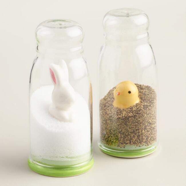 Chick and Bunny Snow Globe Salt and Pepper Shaker Set