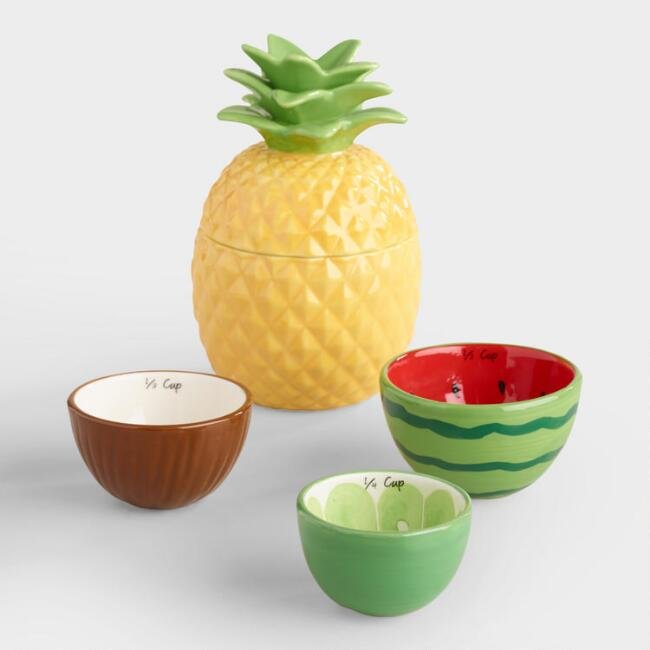 Tropical Fruit Ceramic Measuring Cups