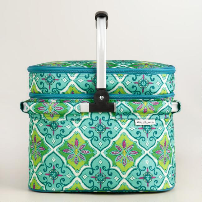 Windward Tile Double Decker Tote Bag with Blanket