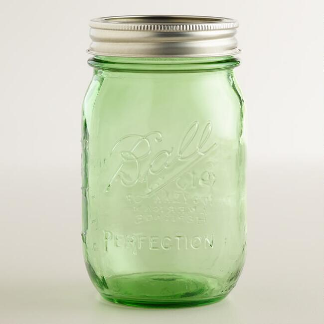 Green Glass Pint Heritage Ball Jars Set of 6
