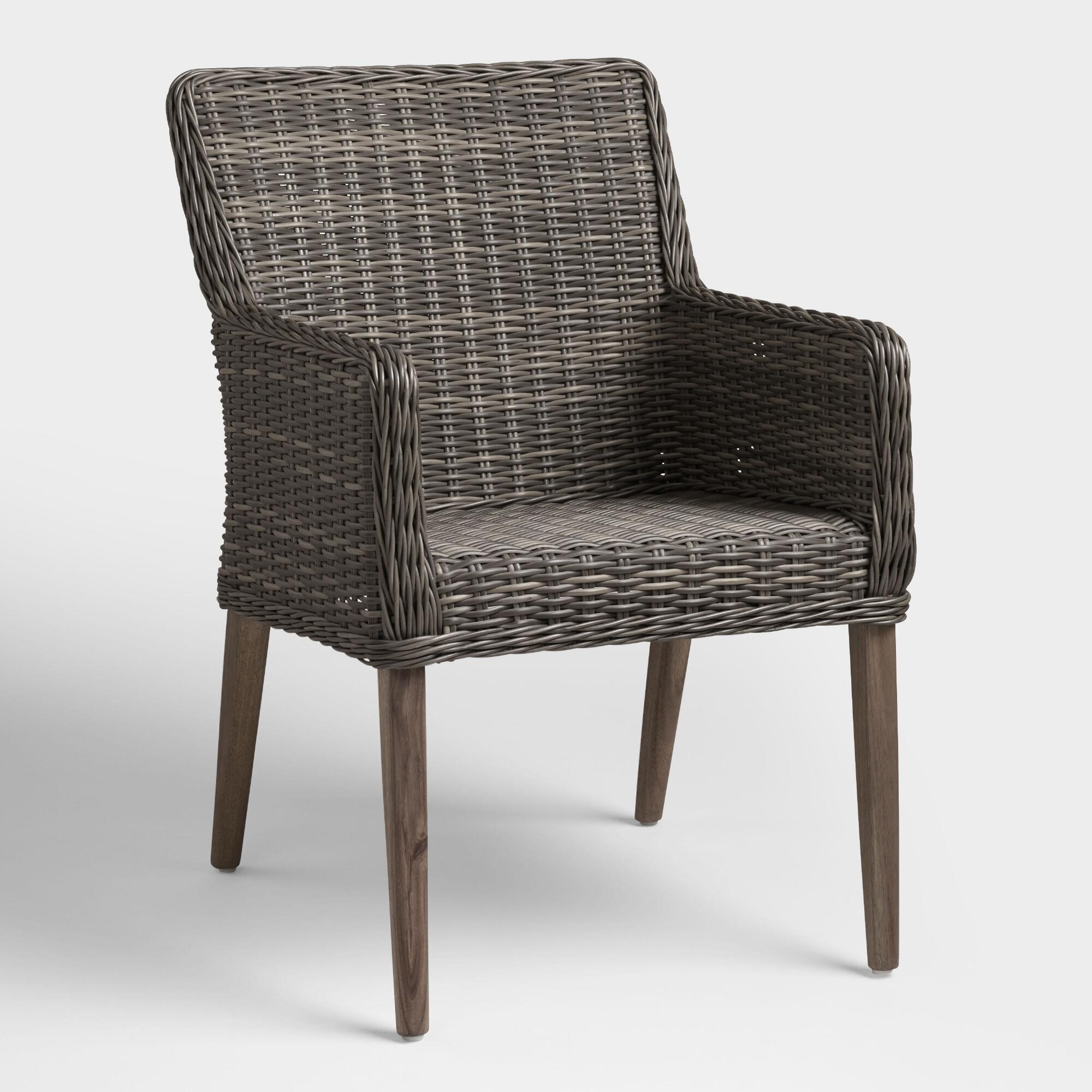 Gray All Weather Wicker Borgia Outdoor Patio Dining Chair - Resin by World Market