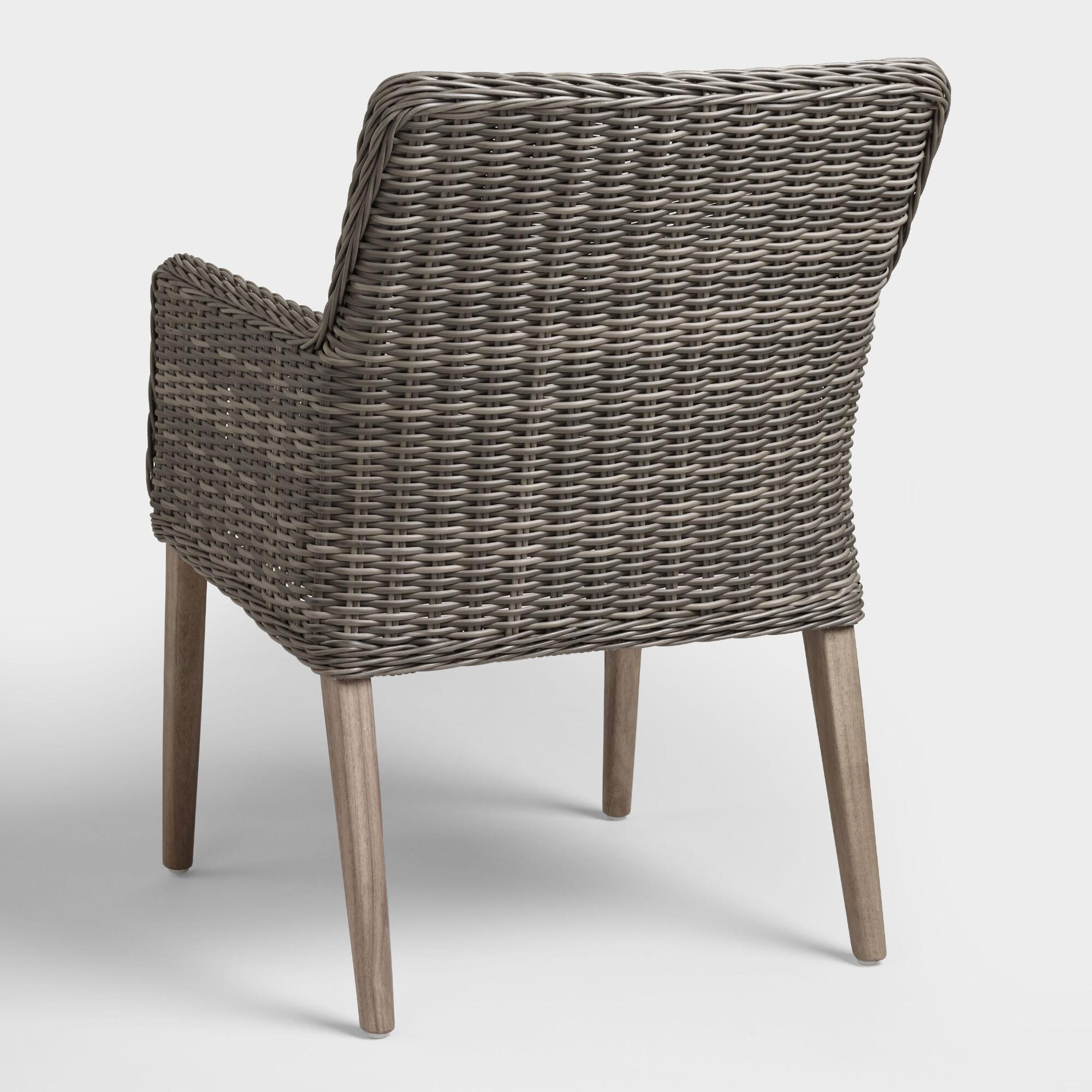 Gray all weather wicker borgia outdoor dining chair world market