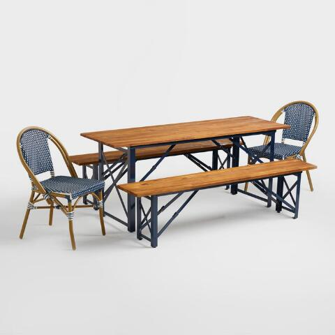 Peacoat Blue Beer Garden Outdoor Dining Table | World Market