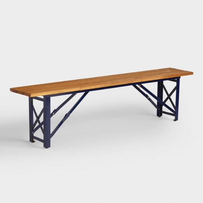 Peacoat Blue Beer Garden Outdoor Dining Bench | World Market