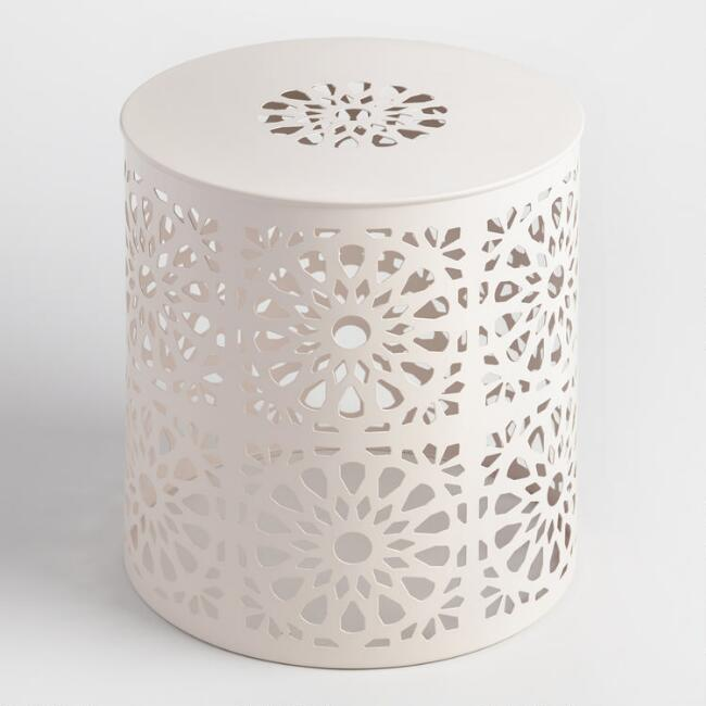 White Punched Metal Soleil Drum Stool