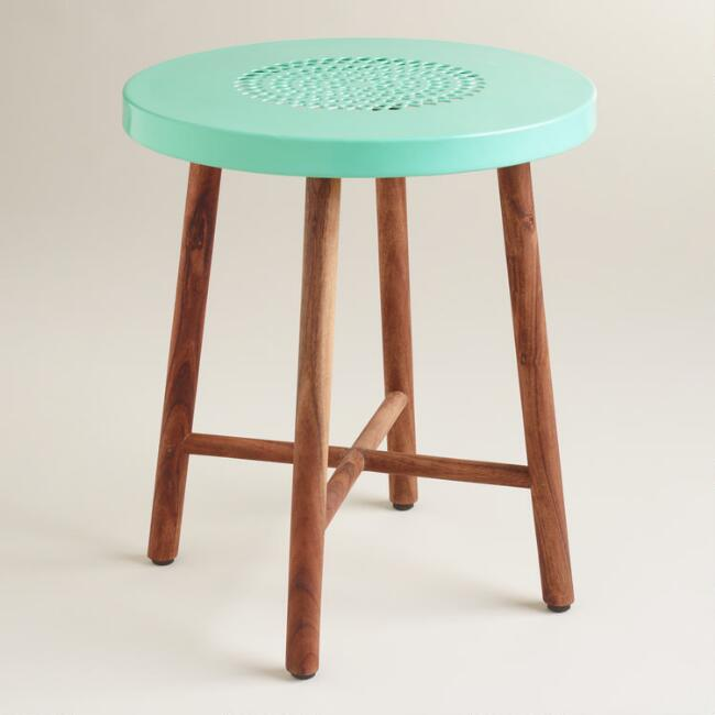Blue Metal and Wood Tristan Stool