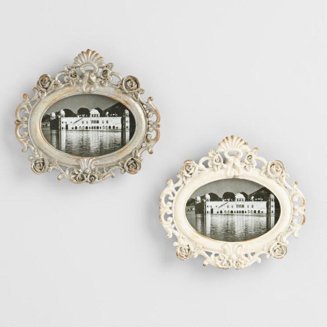 White and Pewter Magnetic Oval Frames Set of 2