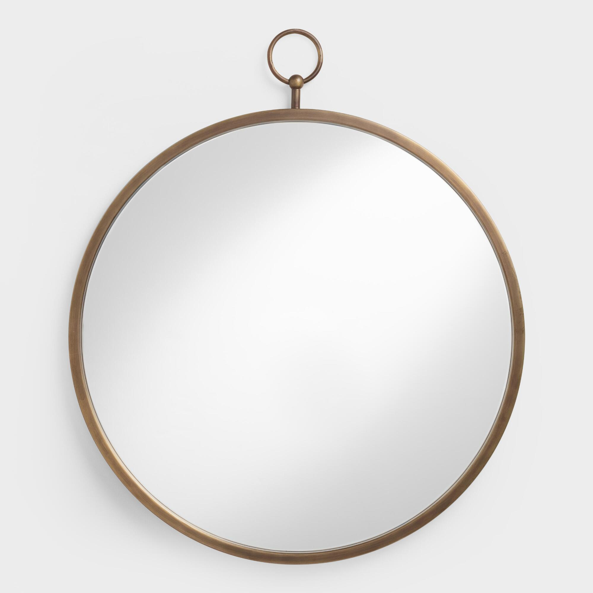 This italian circular wooden wall mirror is no longer available - Brass Metal Loop Mirror