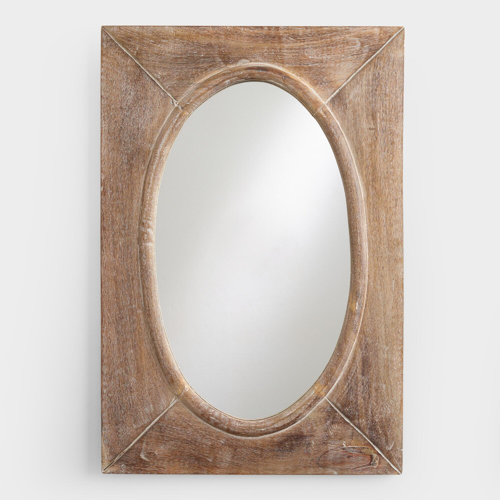 Large mirrors and leaning floor mirrors world market rustic wood shandi framed oval mirror amipublicfo Gallery