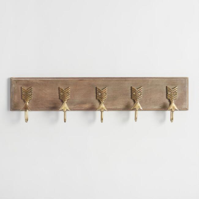Brass Metal Arrow 5 Hook Wall Storage