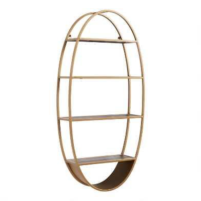 Oval Wood and Metal Wall Shelf