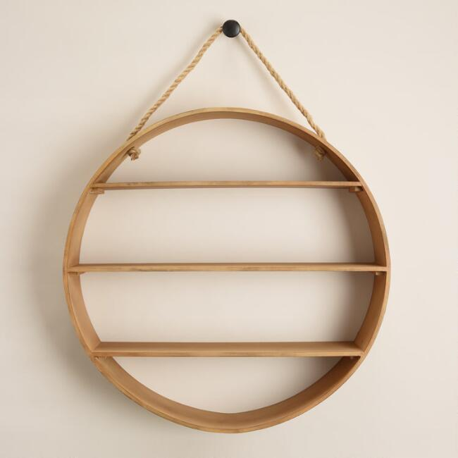 Natural Round Wood Wall Shelf
