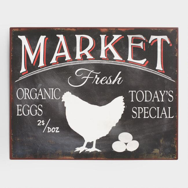 Metal Fresh Eggs Market Sign