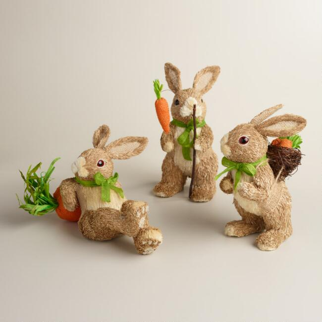 Natural Fiber Bunnies with Carrots Set of 3