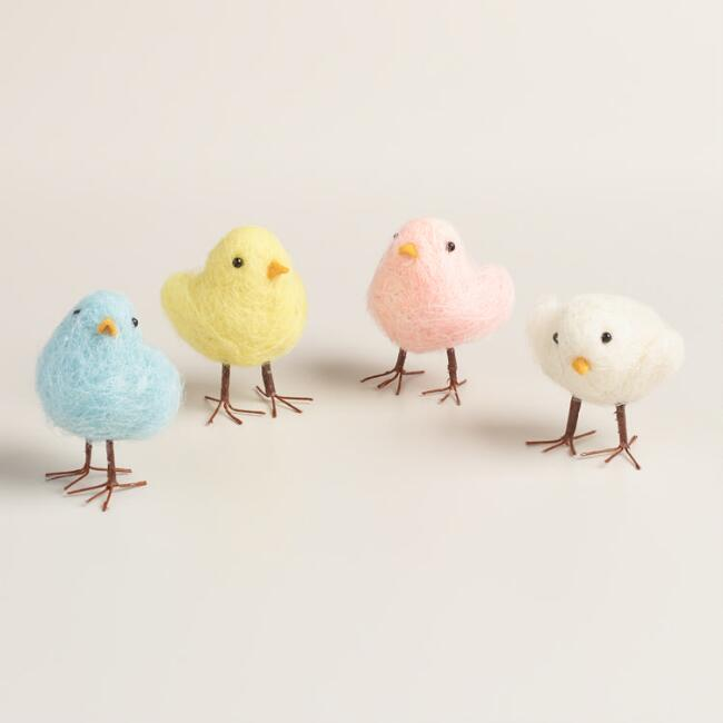 4 Piece Felt Mini Chicks Set of 4
