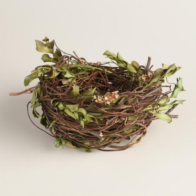 Nest Decor with Leaves Set of 2