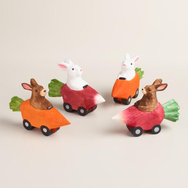 Wood Bunnies in Vegetable Cars Set of 4