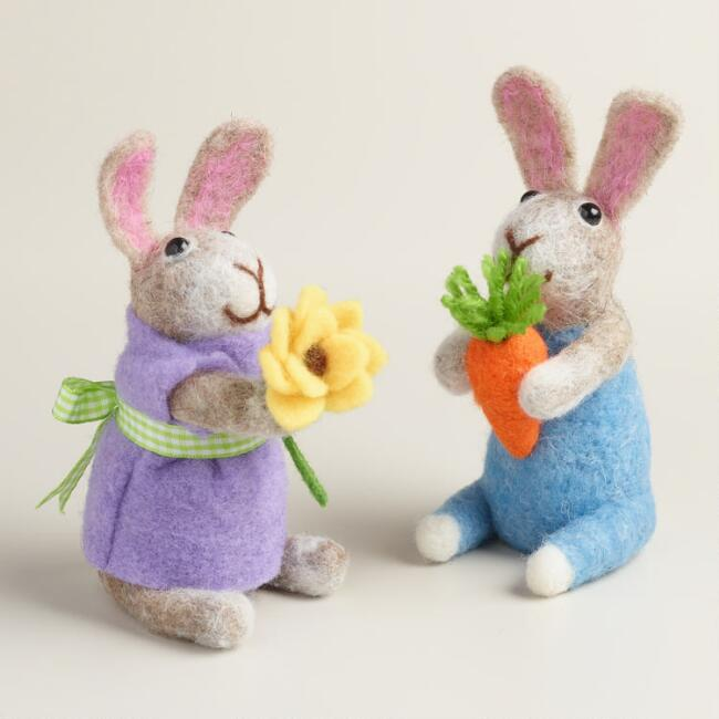 Felted Wool Boy and Girl Bunnies Set of 2