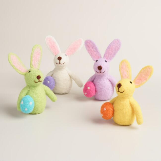 Felted Wool Bunnies with Eggs Set of 4