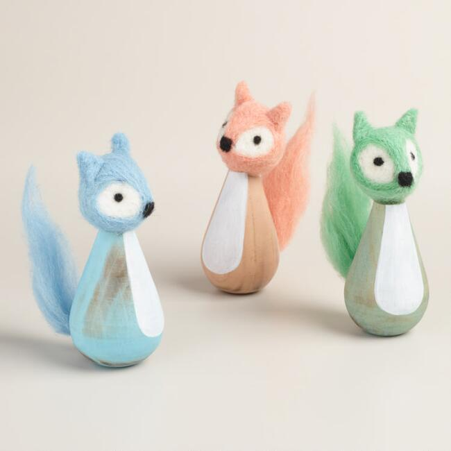Wood and Felted Wool Foxes Set of 3