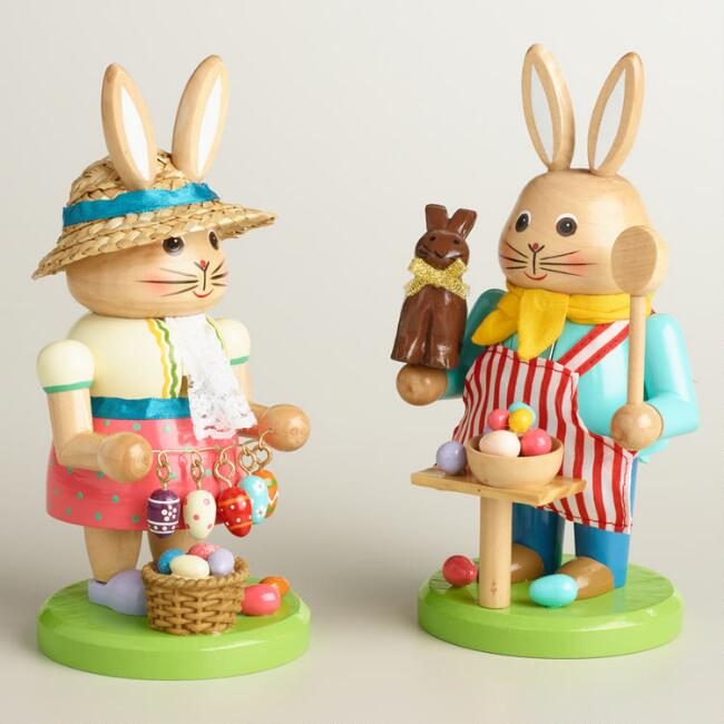Bunny Nutcrackers with Eggs Set of 2