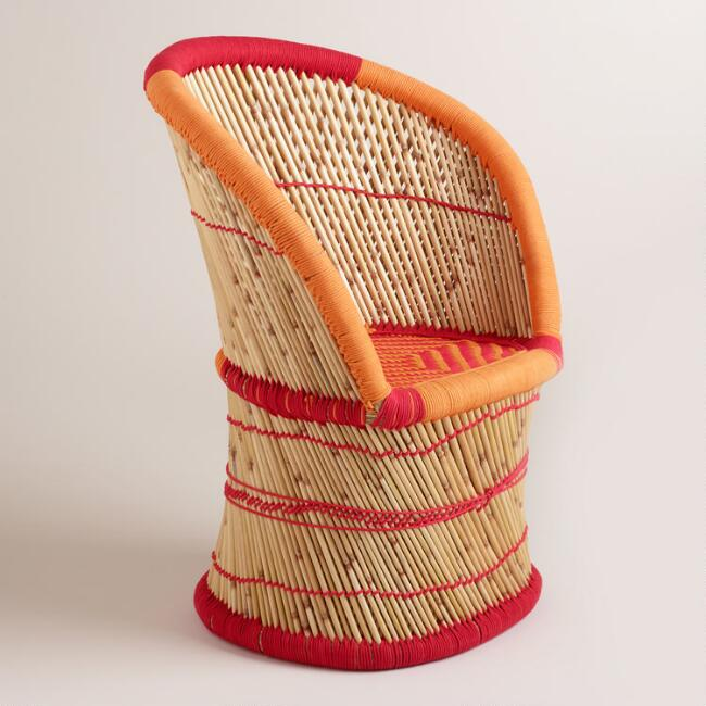 Red and Orange Woven Reed Chair