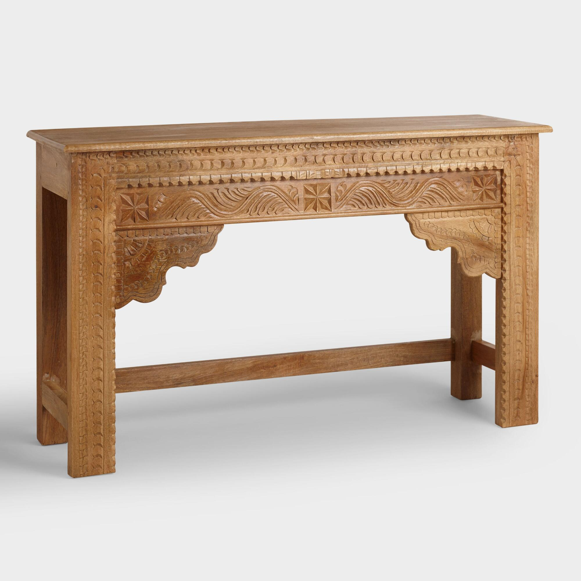 Wood console table world market natural carved wood console table geotapseo Gallery