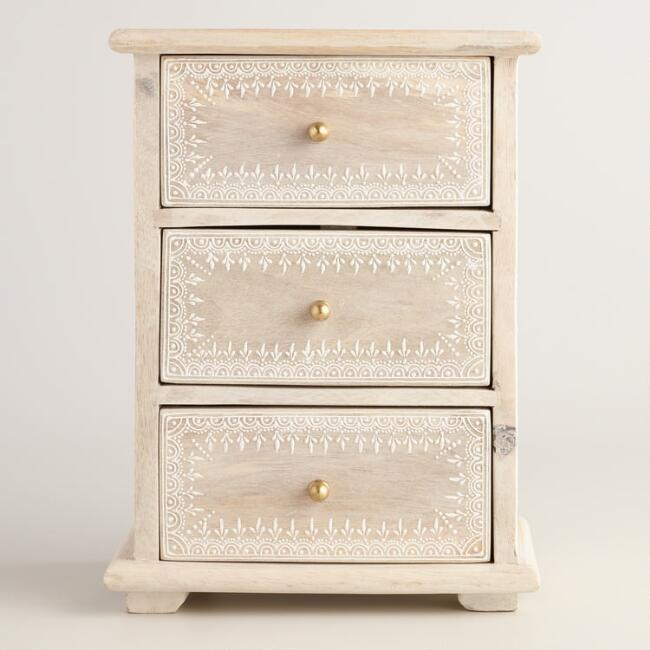 Whitewashed Wood Chest with 3 Drawers