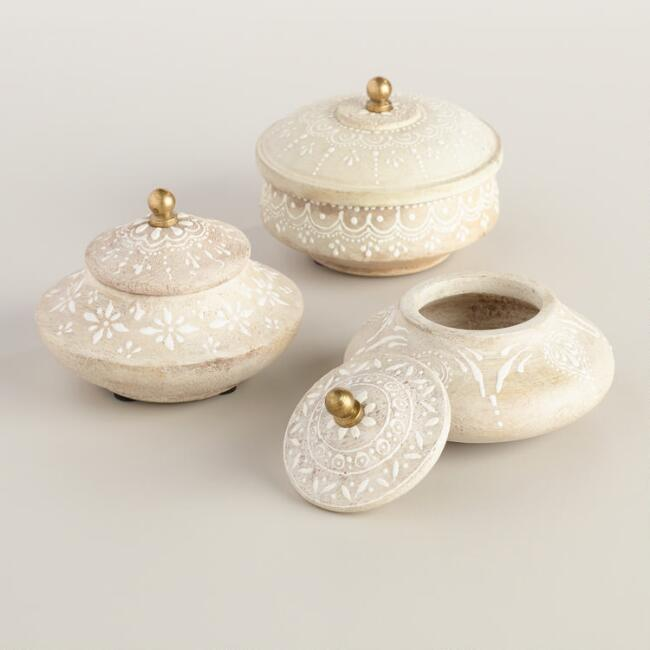 Round Whitewashed Wood Box Set of 3