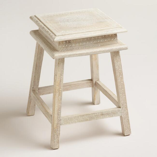 Whitewashed Wood Stool