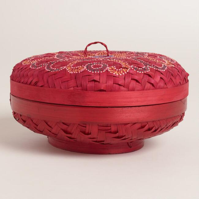Small Red Painted Bamboo Offering Basket