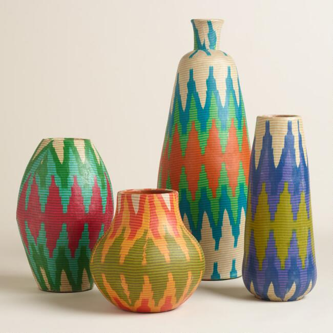 Fabric Wrapped Terracotta Vase Collection