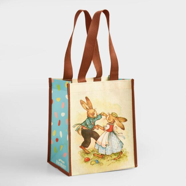 Small Dancing Easter Bunny Tote Bags Set of 2