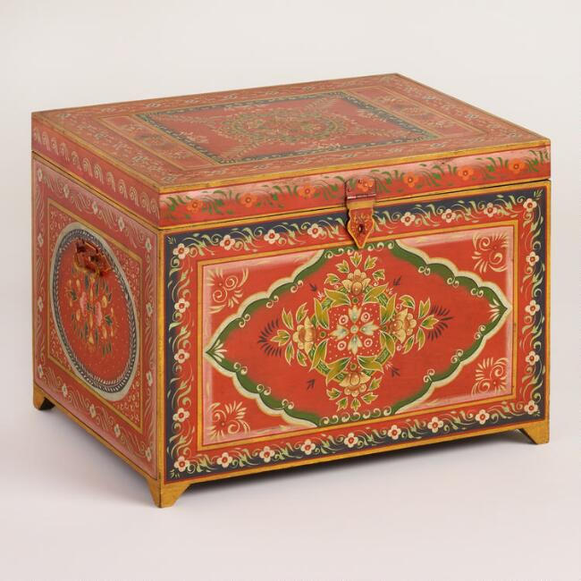 Small Red Painted Wood Trunk