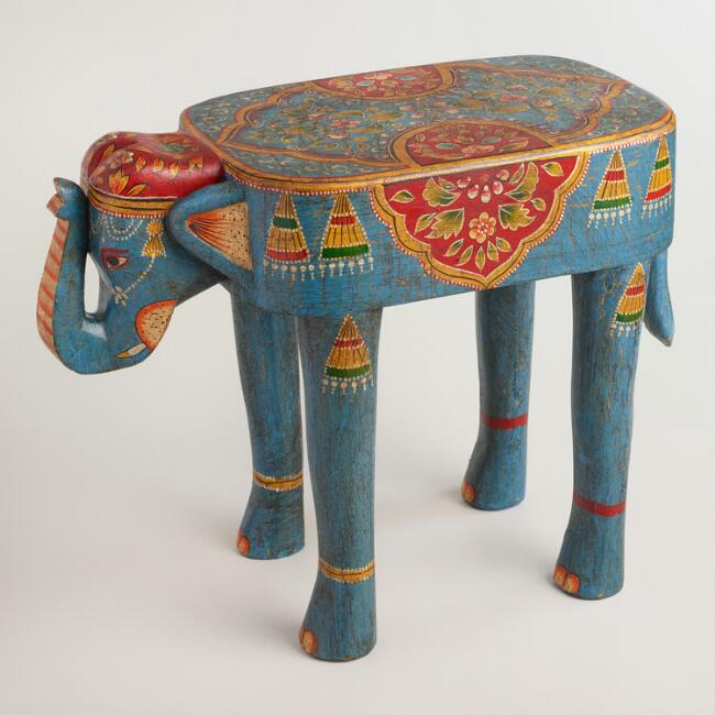 Teal Painted Wood Elephant Accent Table