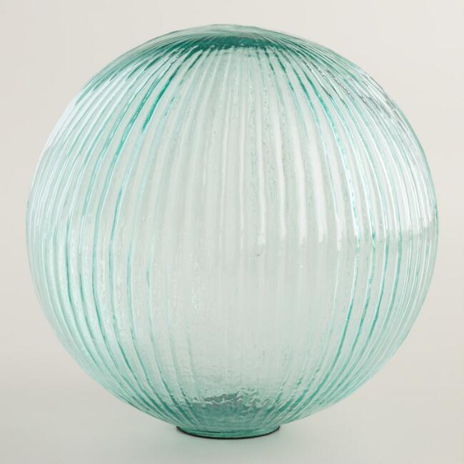 Large Teal Glass Sphere Decor