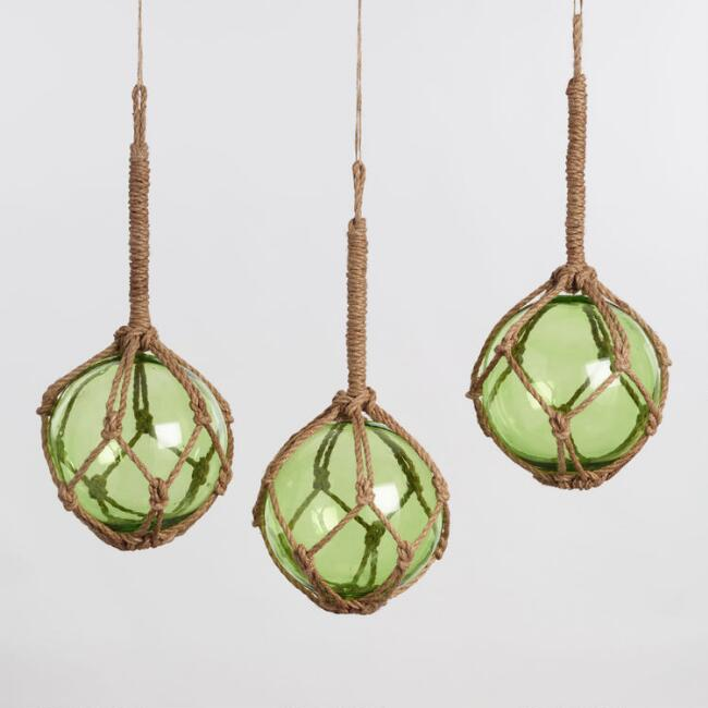 Large Glass Fishing Float Hanging Decor Set of 3