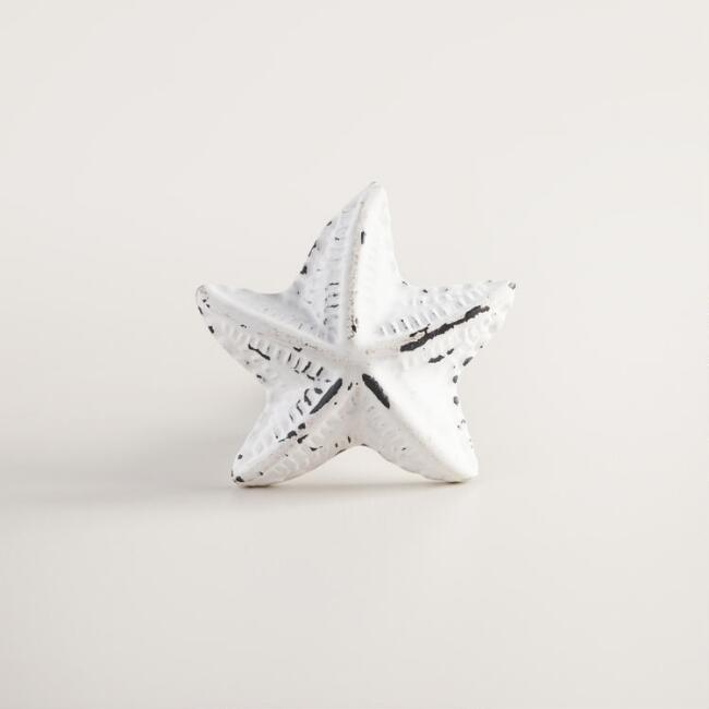 White Cast Iron Starfish Knobs Set of 2