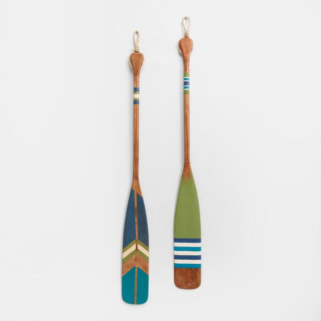 Green and Blue Wood Oars Wall Decor Set Of 2