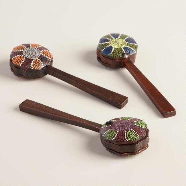 Painted Wood Clacker Set of 3