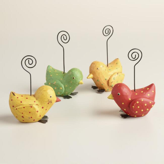 Dotted Bird Cardholders Set of 4