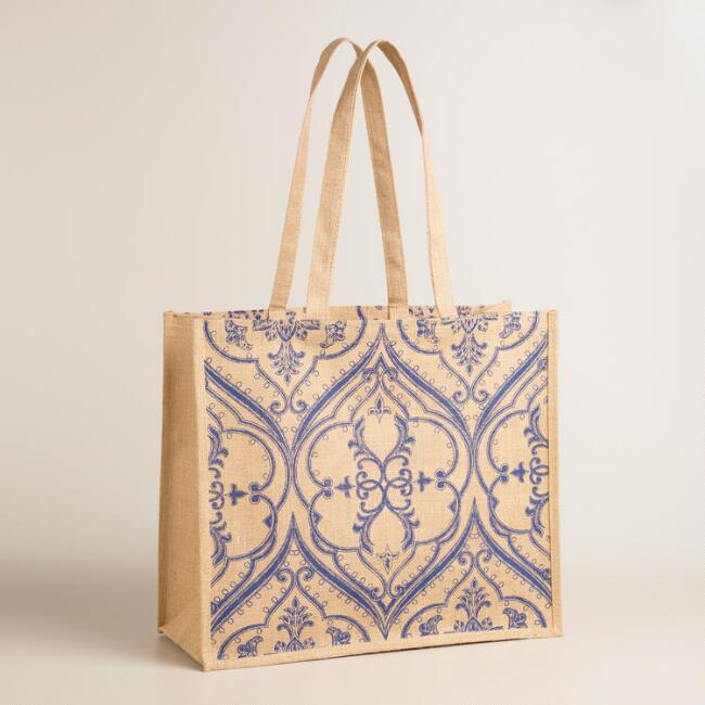 Navy Paisley Pacifica Jute Tote Bag