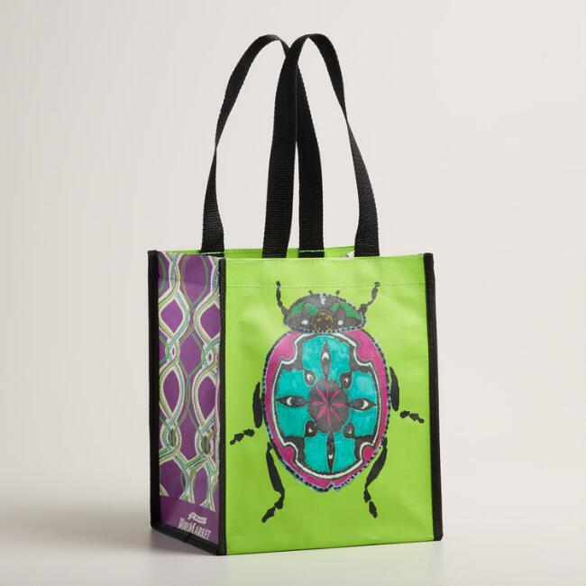 Small Green Beetle Tote Bags Set of 2