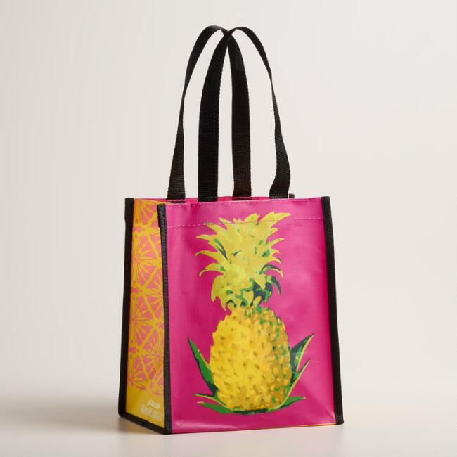 Small Pink Pineapple Tote Bags Set of 2