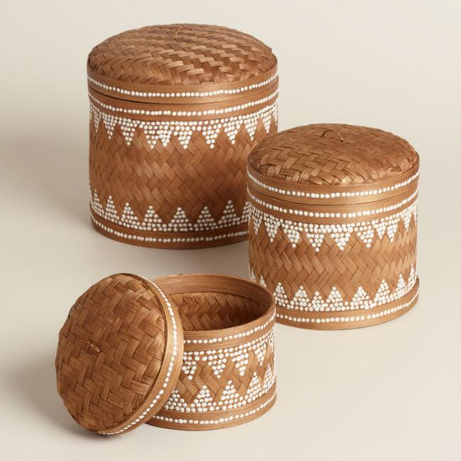 Round White Dotted Bamboo Basket