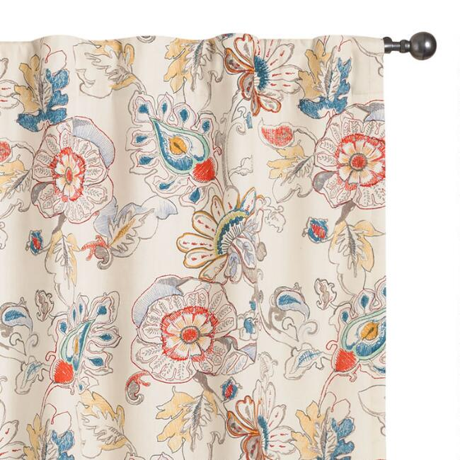 Multicolor Floral Corinne Sleeve Top Curtains Set Of 2