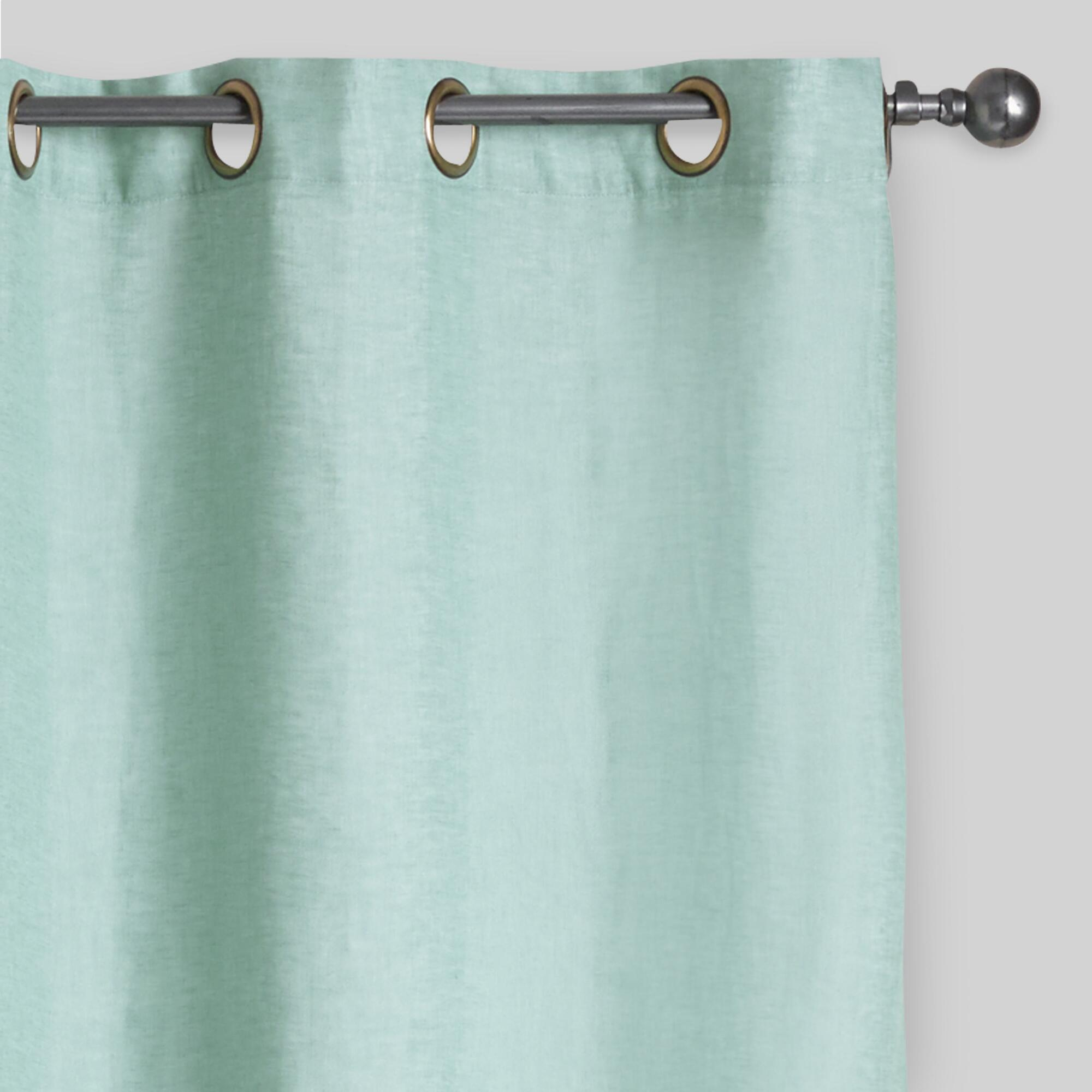 Threshold linen grommet sheer curtain panel product details page - Dusty Aqua Linen Grommet Top Curtains Set Of 2