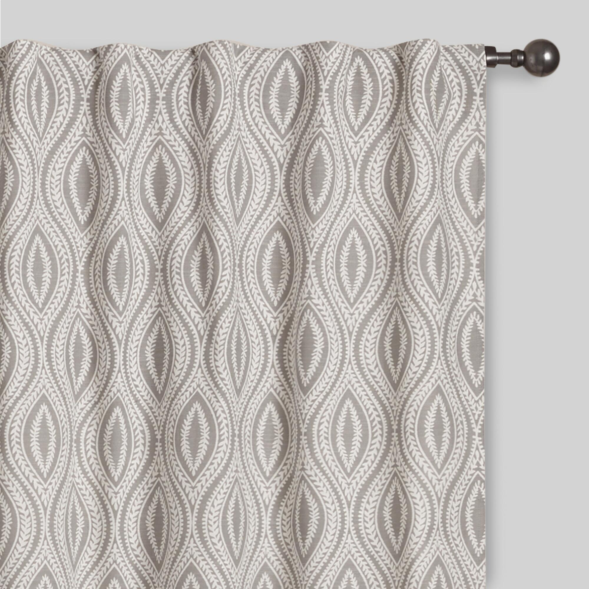 Yellow patterned curtains - Gray Geo Laura Concealed Tab Top Curtains Set Of 2