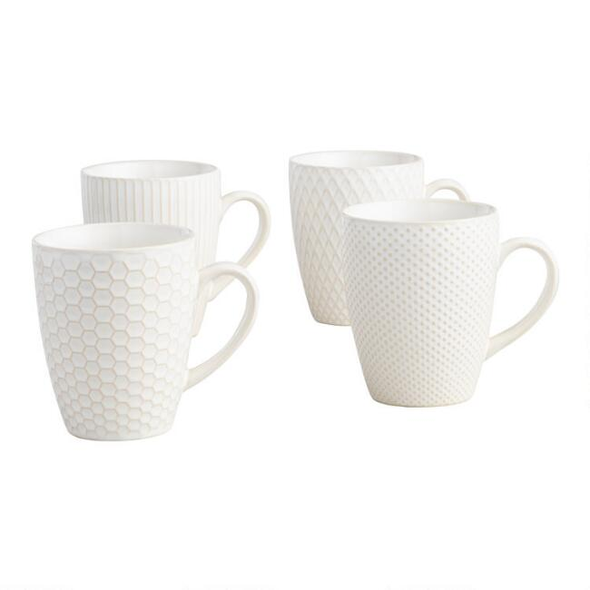 White Textured Ceramic Mugs Set Of 4