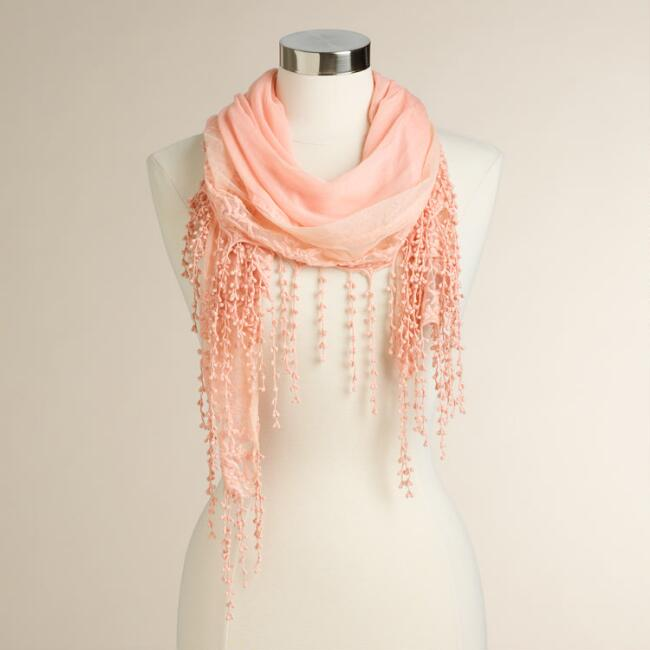 Coral Lace Scarf